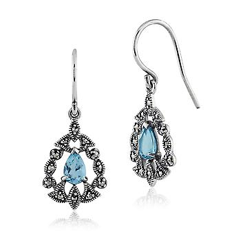 Sterling Silver 0.93ct Blue Topaz & 0.24ct Marcasite Victorian Drop Earrings