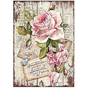 Stamperia Rice Paper A4 Sweet Time Rose (DFSA4254)