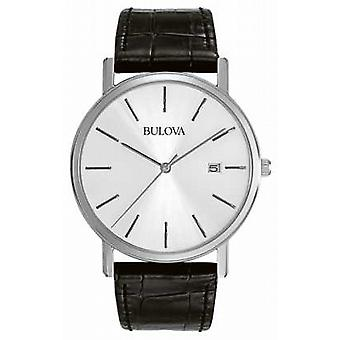 Bulova Watch de Mens robe 96B104 noir argent