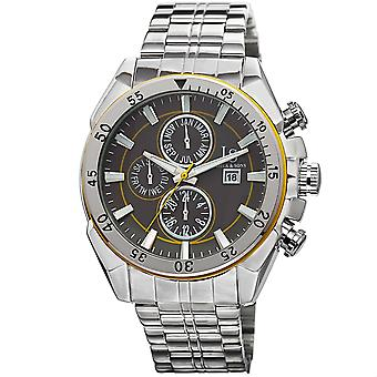Joshua & Sons Men's Silver Multifunction Swiss Quartz Watch with Concentric Circles on Dial and Silver Bracelet Watch JS68YL
