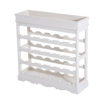 HOMCOM 4-tier Wooden Wine Rack Board 24 Bottles Stackable Display Storage Holder Shelves Stand Kitchen Home w/ Countertop (White)