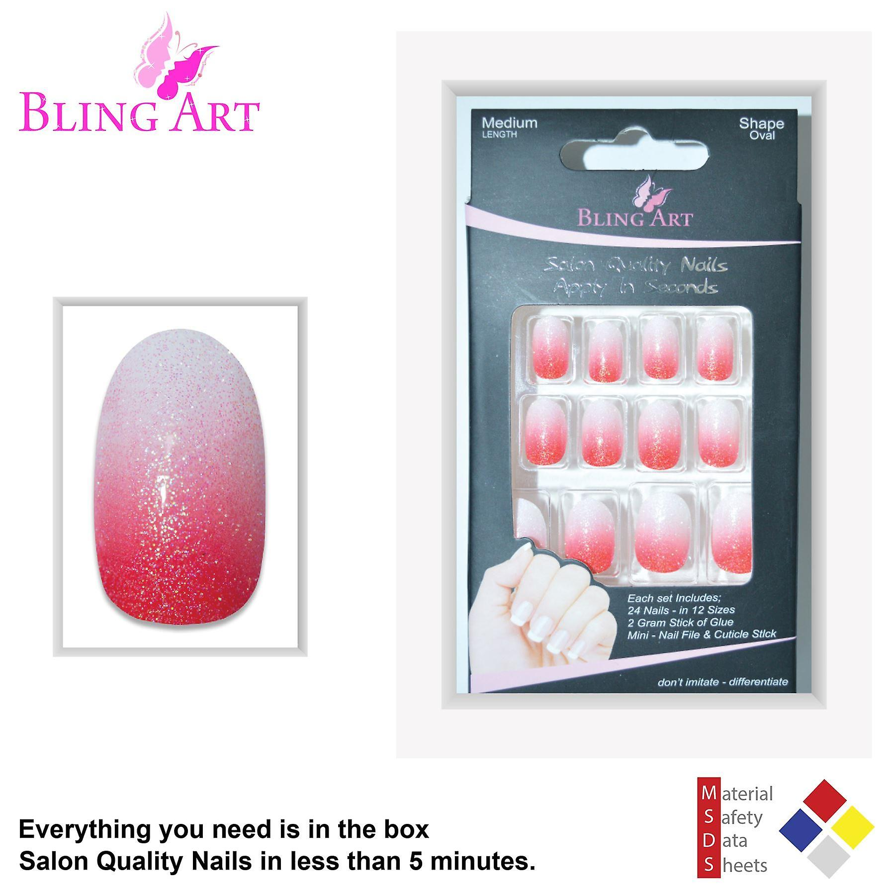 False nails by bling art red gel ombre oval medium fake acrylic 24 tips glue