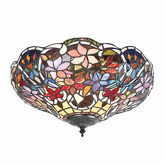 2 Light Medium Ceiling Flush Light Tiffany Style Glass