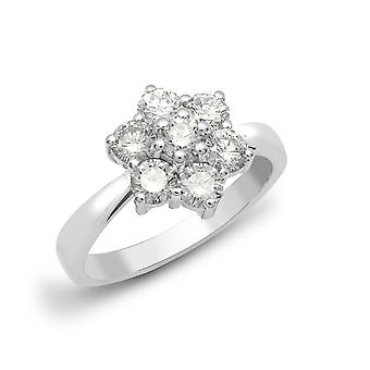 Jewelco London Solid 18ct White Gold Claw Set Round G SI1 1.5ct Diamond 7 Stone Flower Cluster Ring 12mm