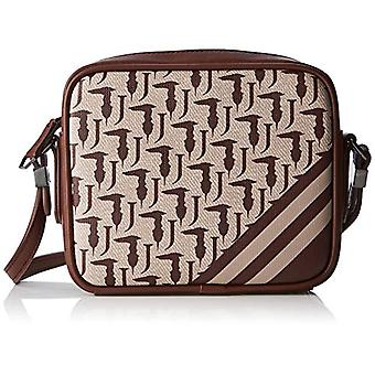 Trussardi Jeans New Vanilla Cross Body Logo Monogram Stripes Brown/Beige Strap Bag 19x16x7 cm (W x H x L)