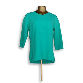 Denim & Co. Women's Top Active French Terry 3/4 Sleeve Green A351591
