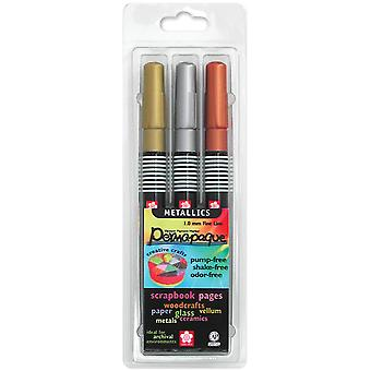 Permapaque Paint Marker Metallic Fine Point Set 3 Pkg Gold Silver Bronze 48101