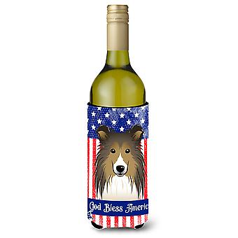 God Bless American Flag with Sheltie Wine Bottle Koozie Hugger BB2172LITERK