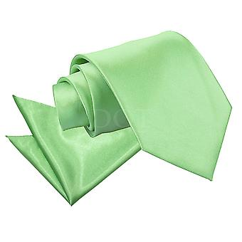 Men's Plain Lime Green Satin Tie 2 pc. Set