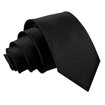 Boy's Plain Black Satin Tie (8+ years)