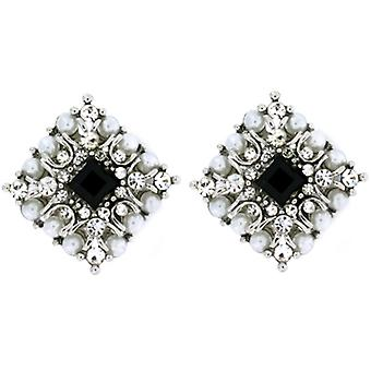 Clip On Earrings Store Vintage Pearl & Jet Black Crystal Diamond Clip On Earring