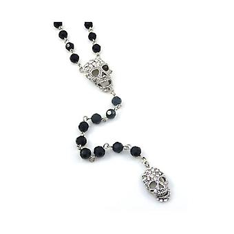 Butler  and  Wilson Crystal Skulls  and  Black Rosary Necklace