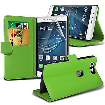 i-Tronixs Huawei P9 Plus PU Leather Wallet Classic Flip Case + Screen Protector Guard -Green