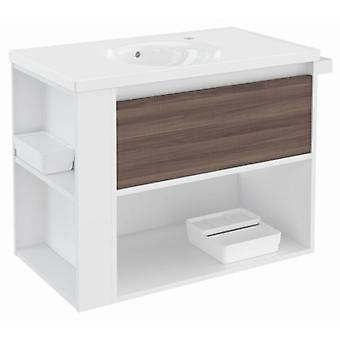 Bath+ 1 Drawer Cabinet + Shelf Porcelain Basin Fresno-White-White 80
