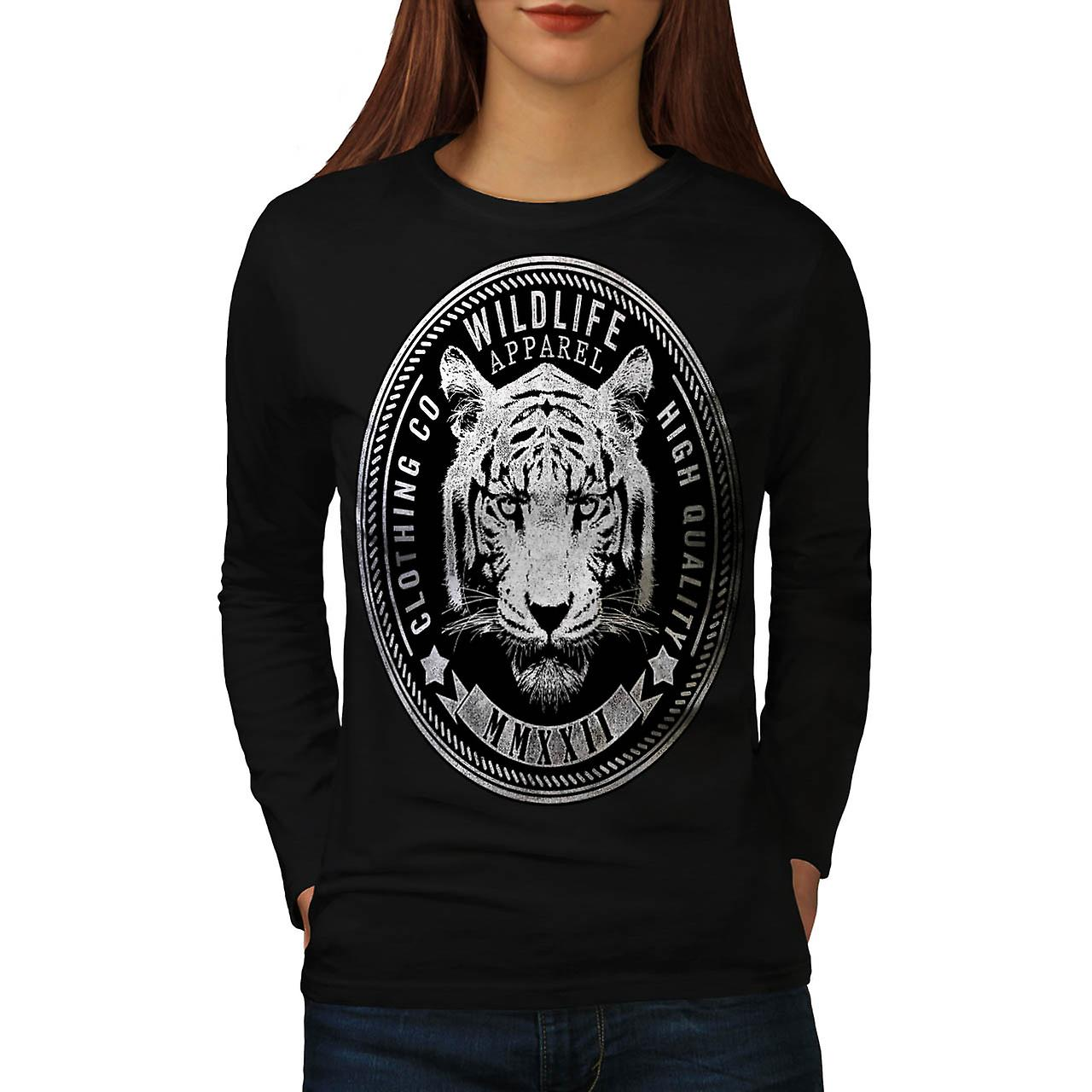 Wildlife Apparel USA Tiger Face Women Black Long Sleeve T-shirt | Wellcoda