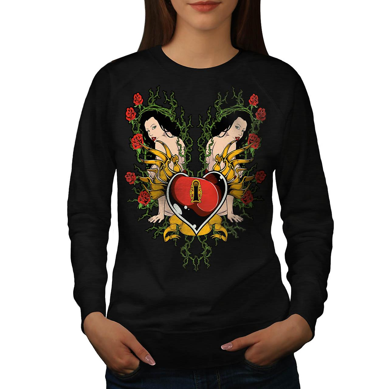 Lock Heart Girl Valentine Women Black Sweatshirt | Wellcoda