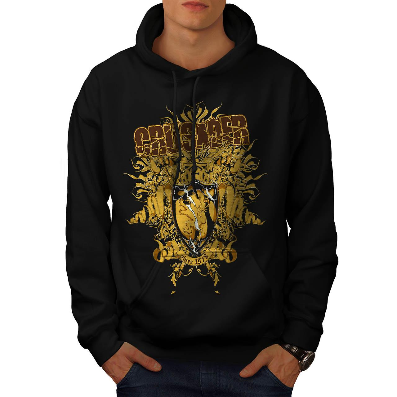 Crusader Shield Fashion Men Black Hoodie | Wellcoda