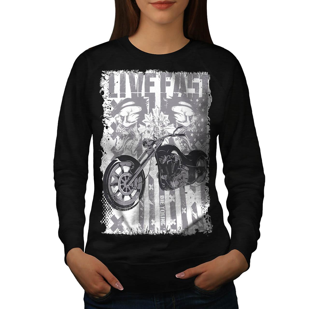 Live Fast USA Flag Biker Women Black Sweatshirt | Wellcoda