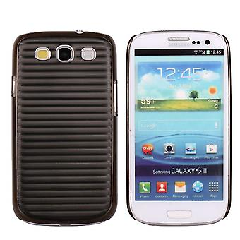 Cover in aluminium with horizontal lines, for Samsung Galaxy i9300 S3 (black)
