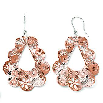 Sterling Silver Dangle Polished Flash Gold-Flashed Rose Gold-Flashed Shepherd Hook Earrings
