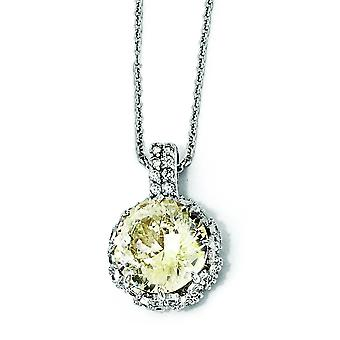 Sterling Silver Round Canary and White CZ Necklace - 18 Inch