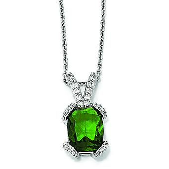 Sterling Silver Simulated Emerald and CZ Necklace - 18 Inch