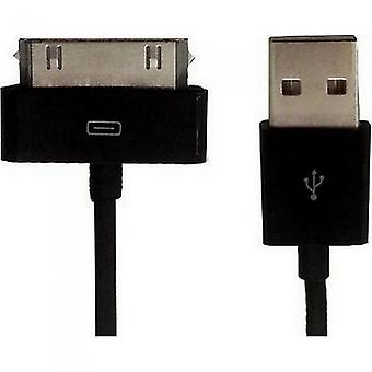 HTCOM 2m USB charging data cable iPhone iPad iPod 30pin to USB black