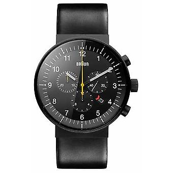 Braun Mens Prestige Chronograph Black Leather Strap Black Dial BN0095BKG Watch