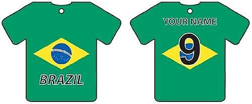 Personalised Brazil Flag Jersey Car Air Freshener
