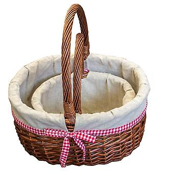 Set of 2 Lined Hollander Shopping Baskets