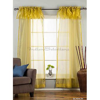 Olive Gold Rod Pocket w/ attached Valance Sheer Tissue Curtain/ /Panel-84