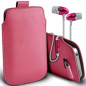 i-Tronixs Premium Stylish Faux Leather Pull Tab Pouch Skin Case Cover with Aluminium Stereo Hands Free Earphone For NUU Mobile X1 (5