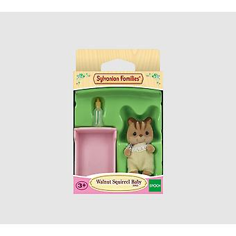 Sylvanian families - Walnut Squirrel Baby yellow with pink cot