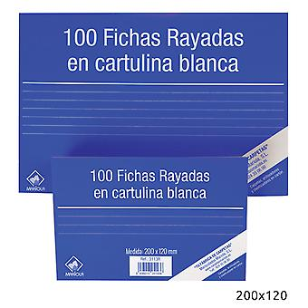 Import Pack 100 Ficha Cartulina Rayada200X120N4 (Toys , School Zone , Accessories)