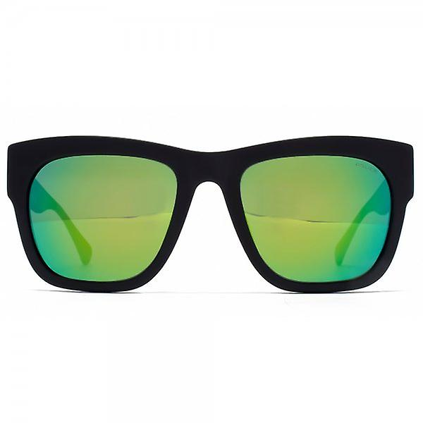 Police Bold Square Sunglasses In Matte Black Green Mirror