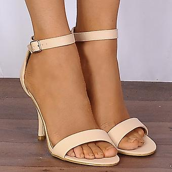 Shoe Closet Ladies Tulip1 Nude Barely There Peep Toes Strappy Sandals High Heels