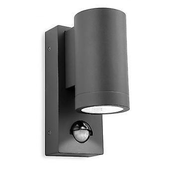 FIRSTLIGHT moderne Graphit LED Sensor Outdoor-Wand Downlight