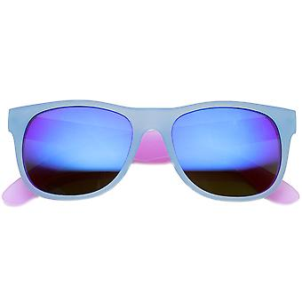 Frosted Colorful Two-Tone Frame Flash Mirror Lens Horn Rimmed Sunglasses