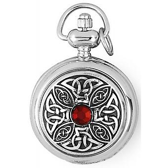 Woodford Chrome Plated Celtic Quartz Pendant Watch - Silver/Red