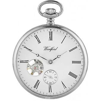 Woodford Chrome Open Faced Mechanical Pocket Watch - Silver