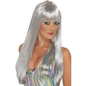 Smiffys Glitter Disco Wig Silver Long Straight With Fringe (Costumes)
