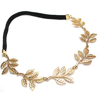 Metallic Sweet Lady Golden Leaf Flower Elastic Hair Band Headband by Boolavard® TM