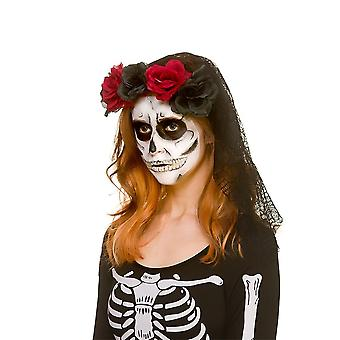 Halloween Headband Black Veil Day Of The Dead Flowers Fancy Dress Accessory Party