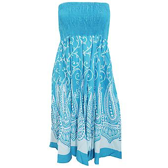 Womens/Ladies Paisley And Leaf Swirl Pattern 2 In 1 Summer Dress