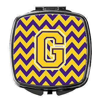 Carolines Treasures  CJ1041-GSCM Letter G Chevron Purple and Gold Compact Mirror