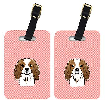 Pair of Checkerboard Pink Cavalier Spaniel Luggage Tags