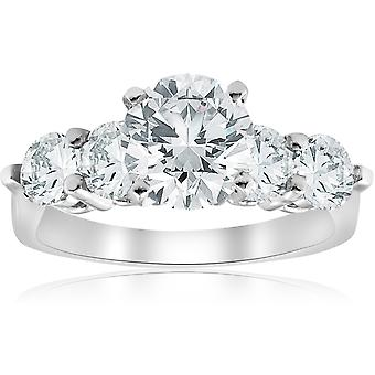 3 1 / 2ct ronde verbeterde Diamond Accent verlovingsring 14K White Gold