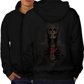 Rock Skull Heart Men BlackHoodie Back | Wellcoda
