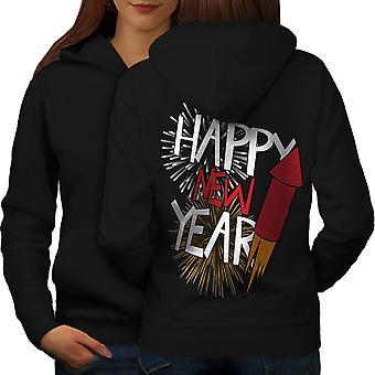 Firework Festive New Women BlackHoodie Back | Wellcoda