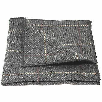 Luxury Herringbone Charcoal Grey Tweed Pocket Square, Handkerchief